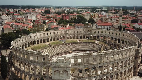 Pula Arena, Croatia. Aerial View of Colosseum Type of Roman Architecture Live Action