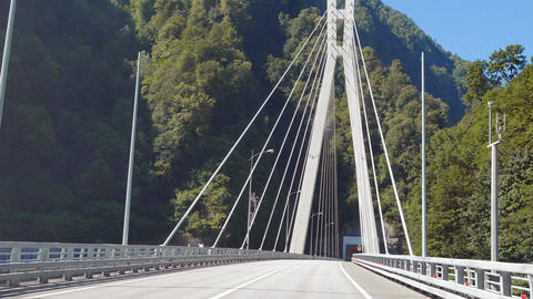 Cable-stayed bridge on the road Adler - Alpika-service resort, Sochi, Russia Footage