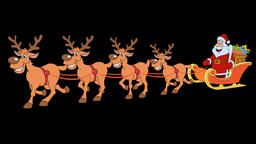 Christmas sleigh with four reindeer and Santa Claus. 4K. 25 fps Animation