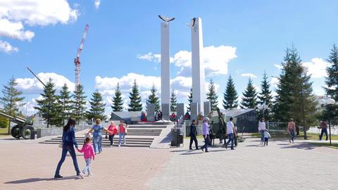 The memorial complex Cranes, Pyshma, Ekaterinburg, Russia Footage