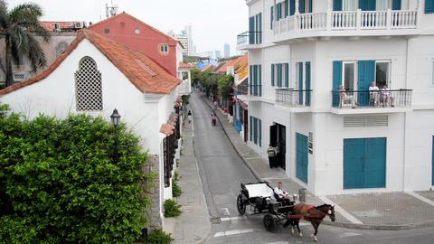 Fast Motion Horse Carriage in Cartagena Footage