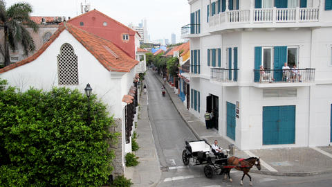 Horse Carriage in Cartagena Footage
