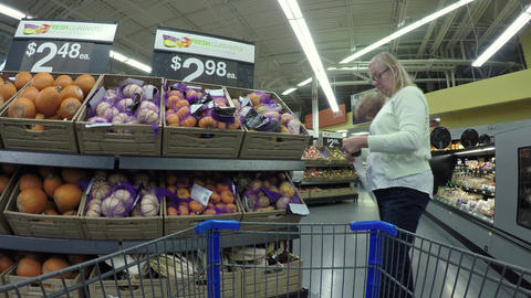 Woman shopping for fresh fruit and vegetables POV 4K 851 Footage
