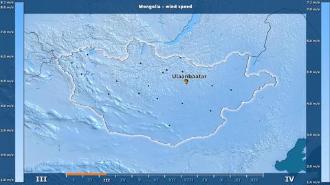 Mongolia - wind speed, English labels Animation