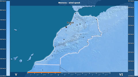 Morocco - wind speed, English labels Animation