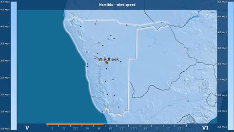 Namibia - wind speed, English labels Animation