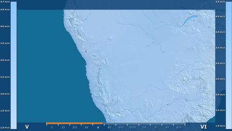 Namibia - wind speed, raw data Animation