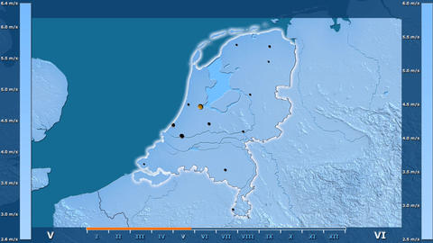 Netherlands - wind speed, borders and cities Animation