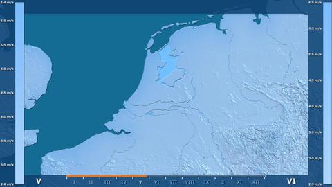 Netherlands - wind speed, raw data Animation