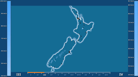New Zealand - wind speed, borders and cities Animation