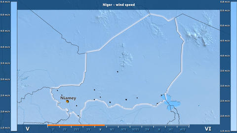 Niger - wind speed, English labels Animation