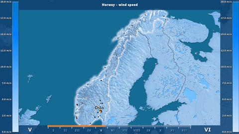 Norway - wind speed, English labels Animation