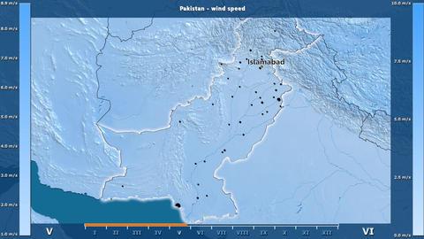 Pakistan - wind speed, English labels Animation