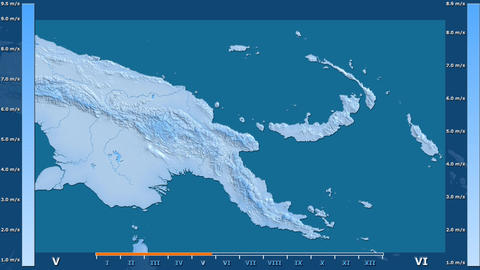 Papua New Guinea - wind speed, raw data Animation