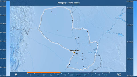 Paraguay - wind speed, English labels Animation