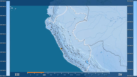 Peru - wind speed, borders and cities Animation