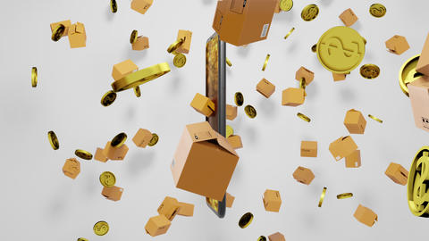 Seamless Loop 3D render E-commerce Smartphone, Parcels, and Golden Coins Falling down with Shopping Animation