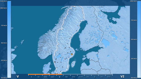 Sweden - wind speed, borders and cities Animation