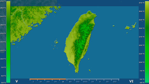 Taiwan - average temperature, raw data Animation