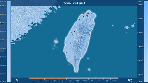 Taiwan - wind speed, English labels Animation