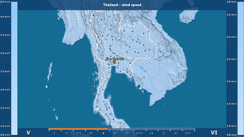 Thailand - wind speed, English labels Animation