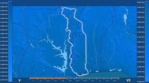 Togo - water vapor pressure, borders and cities Animation