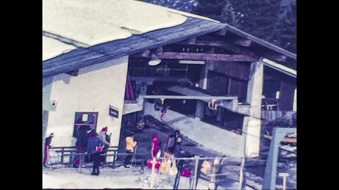 MADONNA DI CAMPIGLIO, ITALY 1974: Dolomites ski resort with people on vacation in 1974 Live Action