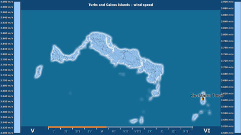 Turks And Caicos Islands - wind speed, English labels Animation