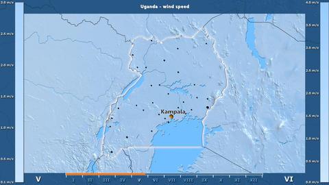 Uganda - wind speed, English labels Animation