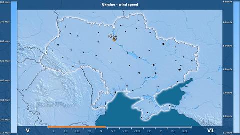 Ukraine - wind speed, English labels Animation