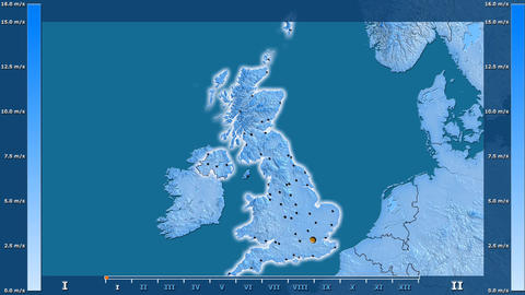 United Kingdom - wind speed, borders and cities Animation