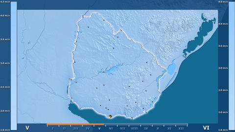 Uruguay - wind speed, borders and cities Animation