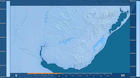 Uruguay - wind speed, raw data Animation