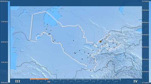 Uzbekistan - wind speed, borders and cities Animation
