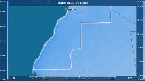 Western Sahara - wind speed, English labels Animation