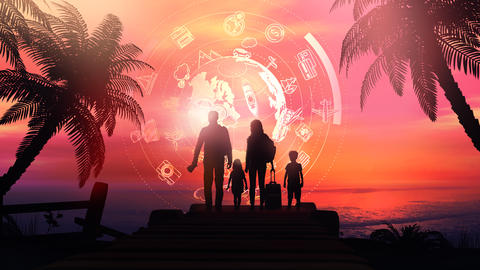 Family silhouettes on a tropical sunset background and travel infographics Fotografía