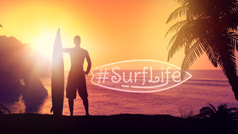 Silhouette of a surfer on a tropical beach Fotografía