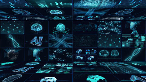 Digital Network Technology AI artificial intelligence data concepts Background B Yoko E1 3x3 blue CG動画