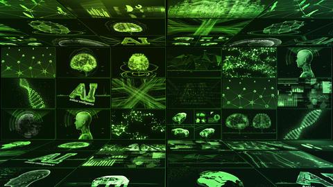 Digital Network Technology AI artificial intelligence data concepts Background B Yoko E1 3x3 green CG動画