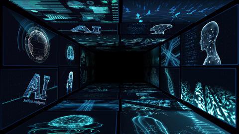 Digital Network Technology AI artificial intelligence data concepts Background B Yoko-Tate A1 2x2 Animation