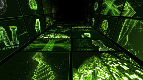 Digital Network Technology AI artificial intelligence data concepts Background B Yoko-Tate C1 2x2 CG動画