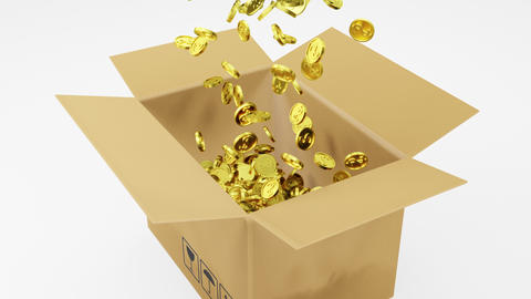 3D Rendering a number of Golden Dollars Coins Falling into Brown Package on White Background with Animation