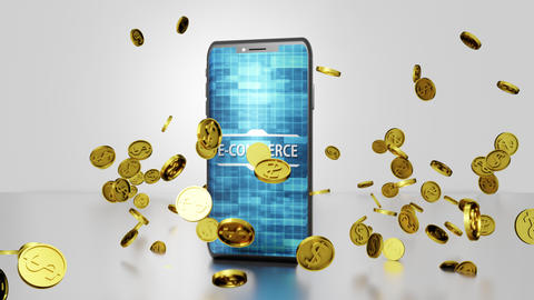 Seamless Loop E-commerce 3D render Smartphone Rotating and Golden Coins Falling and Bouncing on the Animation