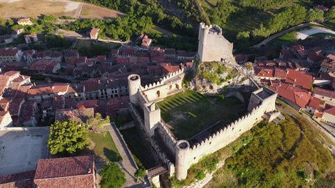 Aerial view of the scenic medieval village of Frias in Burgos province, Spain Live Action