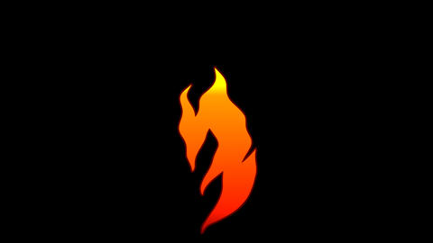 Vector Flat Cartoon flame text typography animation loop with alpha3 Animation