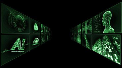 Digital Network Technology AI artificial intelligence data concepts Background TA1 2x2 green CG動画