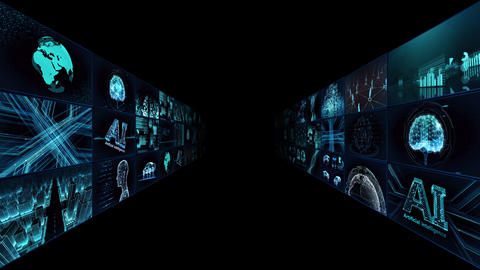 Digital Network Technology AI artificial intelligence data concepts Background TA1 3x3 blue CG動画