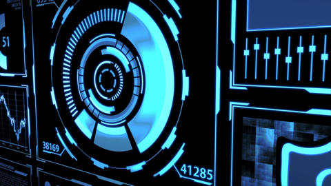 Data Transfer, Transmission and Digital Transformation Screen HUD with Details in Blue color theme Animation
