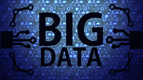 Big Data Big Picture Background Composed of Big Data Icons and Big Data Text with Blue Light Animation