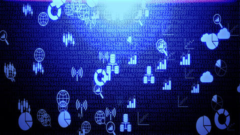 Big Data Icon Set Hovering on The Randoming Numbers Code Background with Blue Lighting Animation
